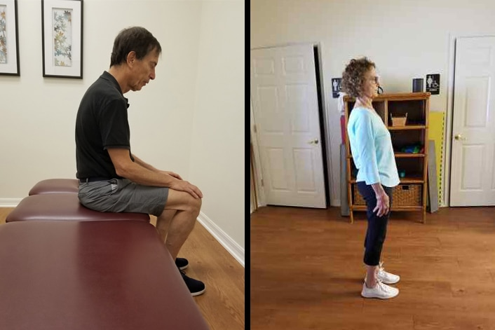 Examples Of Poor Posture Seated Man Slouching And Woman With Swayback